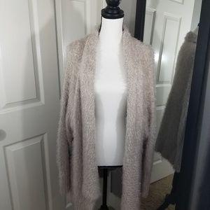 Express Fuzzy Cardigan Sweater light mauve